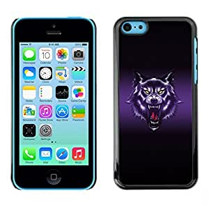 iPhone 5C a Wolf mind Roar Art Drawing Portrait Purple when Glow By FAQA Case