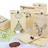 Kesoto Christmas Kraft Gift Bags, 8.7 x 4.7 Inch, 12 Count