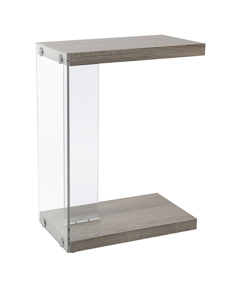 Monarch Specialties I 3216 Glossy Grey with Tempered Glass Accent Table