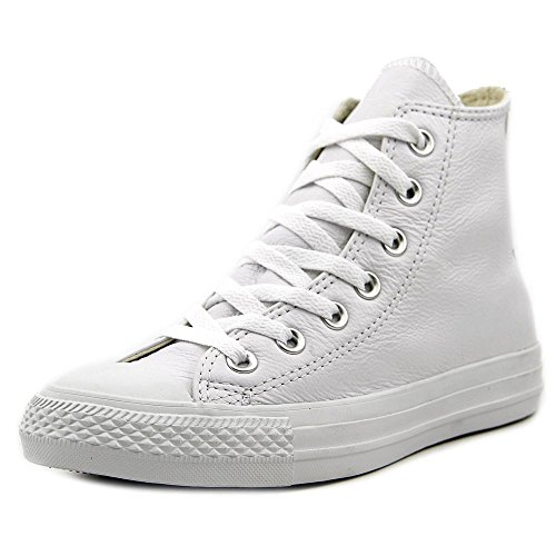 Converse Mens 1T406 Leather Hight Top Lace Up, White Monochrome, Size 11.0