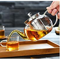 Cosy-Yc Borosilicate Glass Teapot Coffee Pot with Heat Resistant Stainless Steel Infuser Tea Pot Can be Used On Stovetop
