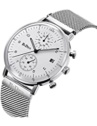 Silver 20mm Quartz Analog Day Date Casual Mens Mesh Watch...