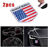 CHAMPLED 2pcs US USA America Flag Sticker Emblem Auto Car 3D Metal Logo Badge Decal Universal For FORD CHRYSLER CHEVY CHEVROLET DODGE CADILLAC JEEP GMC PONTIAC HUMMER LINCOLN BUICK