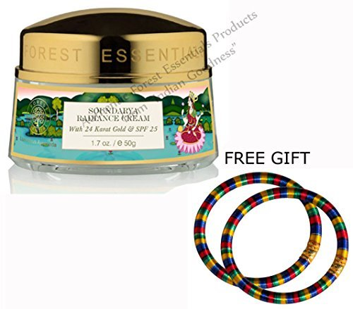 Forest Essentials Soundarya Radiance Cream with 24 Karat Gold and SPF 25-50 GM - With FREE GIFT (Pair of Multicolor Bangles) (Best Face Moisturizer For Combination Skin With Spf In India)