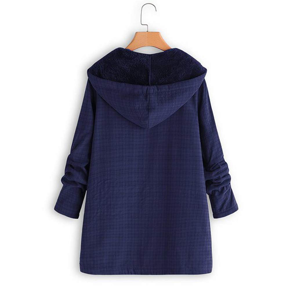 Inverlee Womens Winter Warm Outwear Lattice Hooded Pockets Vintage Oversize Coats