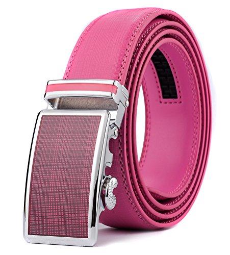 Xhtang Men's Ratchet Belt Automatic Buckle Genuine Pink Leather belt 35mm Wide - Pink Leather Belt Strap