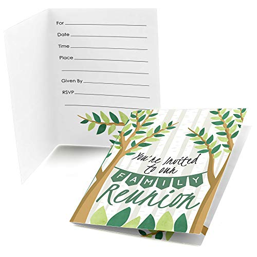 Big Dot of Happiness Family Tree Reunion - Fill in Family Gathering Party Invitations (8 Count) -