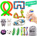 15 Pack Fidget Toys Set Increase Focus Relieves Stress Sensory Toy Bundle-Fidget Chain/Infinity Cube/Wacky Tracks Snap/Stress Ball/Mesh and Marble Sensory Toys for ADD ADHD,Birthday Party Favors