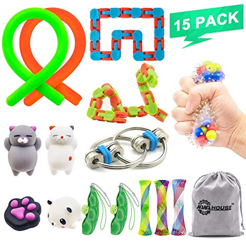 15 Pack Fidget Toys Set Increase Focus Relieves Stress Sensory Toy Bundle-Fidget Chain/Infinity Cube/Wacky Tracks Snap/Stress Ball/Mesh and Marble Sensory Toys for ADD ADHD,Birthday Party Favors by NANAHouse