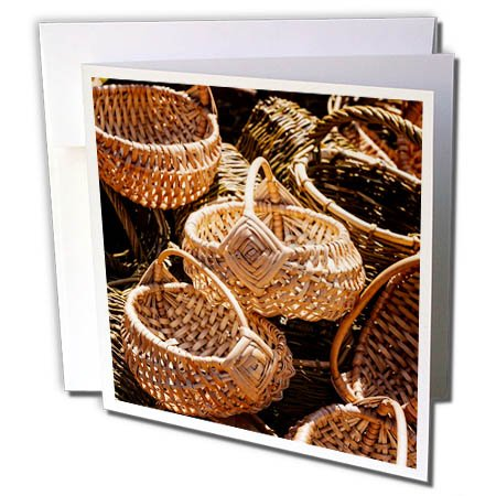 Vintage Stock Photography (3dRose Alexis Photography - Objects - Pile of vintage wicker baskets - 6 Greeting Cards with envelopes (gc_273330_1))