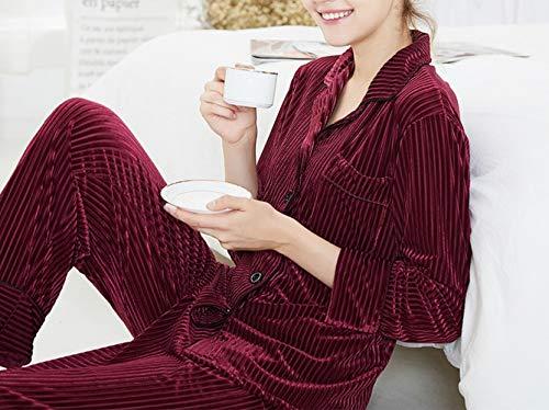 rilassato donna pantaloni velluto di oro caldo e CWJ Autunno Pigiama in pezzi inverno lunghe a casa pigiama e Vino rosso due servizio maniche a vestito 8qxw7nBnE