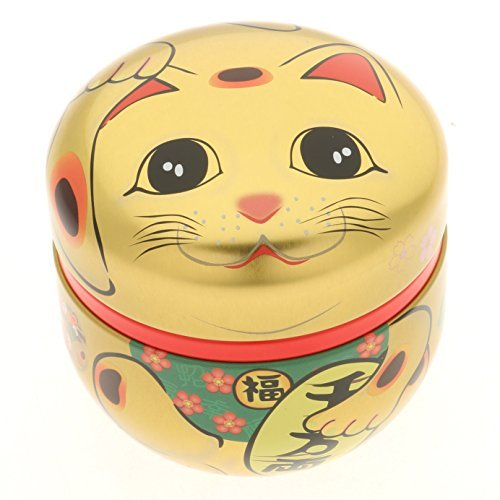 1 Pc Japanese Gold Maneki Neko 100g Tea Canister #499-557 by 123kotobukijapanstore