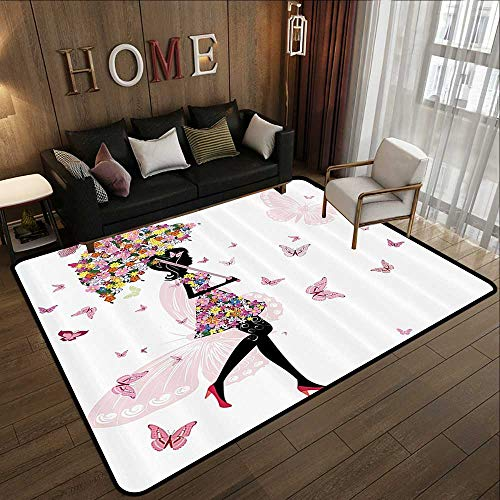 Truck mats,Girly Decor,Girl with Floral Umbrella and Dress Walking with Butterflies Inspirational Artsy Print,Pink Black 71