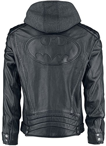 Justice League Gotham The Dark Knight Outlaw Batman Hoodie Black Leather Jacket (Medium, Real Leather)