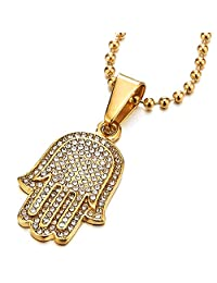 Two-layers Mens Womens Gold Hamsa Hand of Fatima Pendant Necklace Steel with Cubic Zirconia