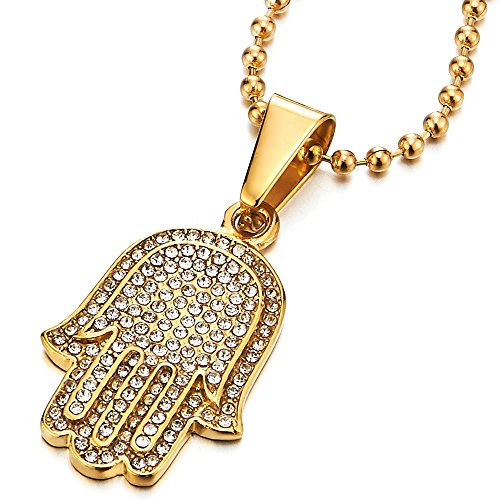 COOLSTEELANDBEYOND Two-Layers Mens Womens Gold Hamsa Hand of Fatima Pendant Necklace Steel with Cubic Zirconia ()