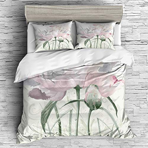 3 Pieces (1 Duvet Cover 2 Pillow Shams)/All Seasons/Home Comforter Bedding Sets Duvet Cover Sets for Adult Kids/Queen/Flower Decor,Floral Pink Roses Tulips Abstract Leaves with Petals and Buds Detaile
