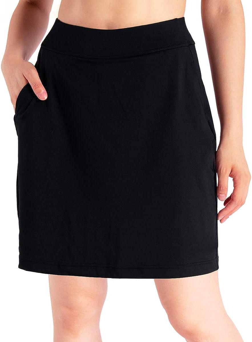 "Yogipace Women's 4 Pockets UPF 50+ 17"" Long Tennis Skirt Running Golf Skorts: Clothing"