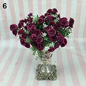 Catnew 1 Bouquet 5 Branches 15 Heads Artificial Plastic Rose for Wedding Home Decor 38