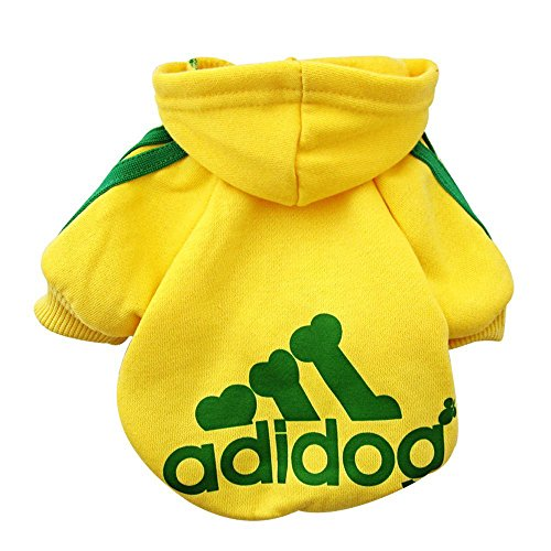 Rdc Pet Fleece Dog Hoodies, Apparel, Adidog Basic Hoodie Sweater, Cotton Jacket Sweat shirt Coat for Small Dog & Medium Dog & Cat (XL, Yellow)