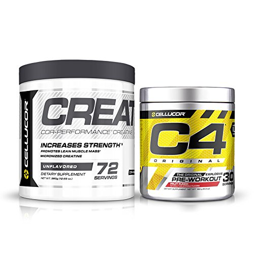 Cellucor Pre Workout & Creatine Bundle,  C4 Original Pre Workout Powder, Fruit Punch, 30 Servings +  Cor Performance Creatine Powder, 72 Servings