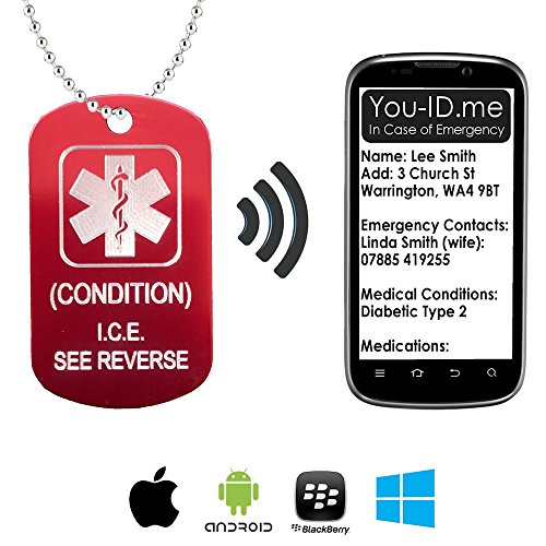 Personalised Engraved SMART Emergency ID Medical Identity Necklace Tag Pendant. Provides Access YOUR Emergency Contacts, Next of Kin, Medications from ANY Smartphone, Tablet or PC Dog Tag or Round (Health Engraved Pendant)