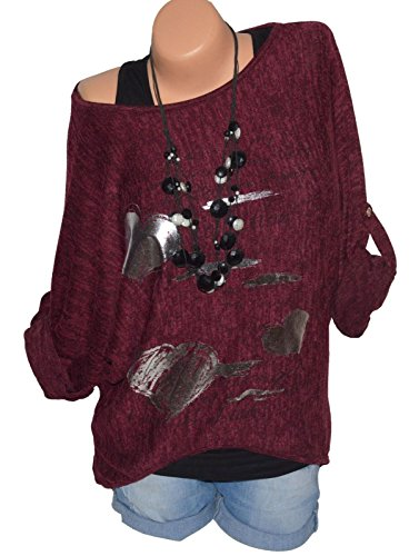 Bluse Camicie e Donne Jumper Quotidiani Fashion Tops Casual Primavera Manica T Autunno Lunga a Maglie Maglietta Stampa Shirts Simple Tunica Rosso Vino Moda qxHwEzw