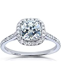 Forever One Moissanite and Lab Grown Diamond Halo Engagement Ring 1 1/3 CTW in Platinum (DEF/VS)
