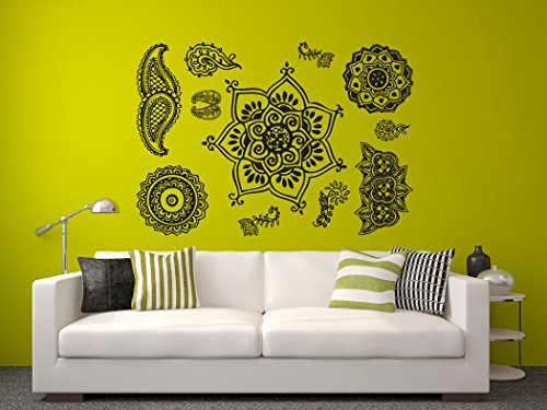Asian Decal Set - Henna Tattoo - Set of 11 Designs - Peel and Stick Wall Decal - 22