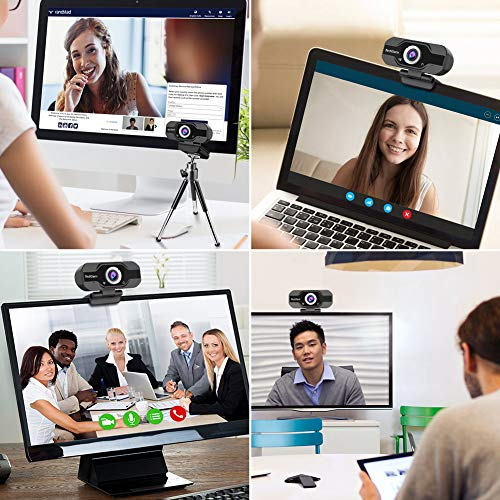 PC Webcam, TedGem 1080P Full HD Webcam USB Desktop & Laptop Webcam Live Streaming Webcam with Microphone Widescreen HD Video Webcam 90-Degree Extended View for Video Calling (HD Webcam)… (Black)