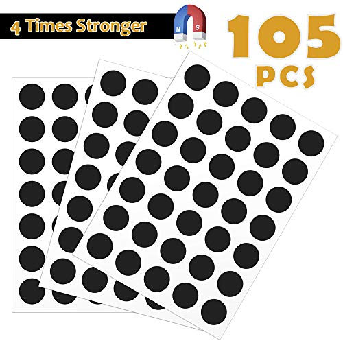Magnetic Dots - 105 Adhesive Magnets with Strong 3M Backing - Each 20x20x2mm - Flexible Sticky Magnets for Crafts & DIY Projects, Hanging & Organizing Lightweight Objects (20x2 Round)