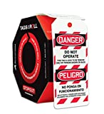 Accuform Signs TAR460 Tags By-The-Roll Spanish Bilingual Lockout Tags, Legend ''DANGER DO NOT OPERATE/PELIGRO NO PONGA EN FUNCIONAMIENTO'', 6.25'' Length x 3'' Width x 0.010'' Thickness, PF-Cardstock, Red/Black on White (Roll of 100)