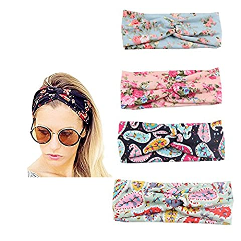 4 PCS Women Headband Hair Bands Accessories,Adults And Baby Elastic Turban Head Wrap Floal Style Hair Band (adult style - Shop Baby Accessories