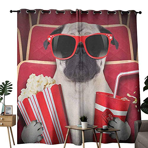 duommhome Pug Bedroom Curtain Funny Dog Watching Movie Popcorn Soft Drink and Glasses Animal Photograph Print Suitable for Bedroom Living Room Study, etc.W108 x L96 Red Cream Ruby