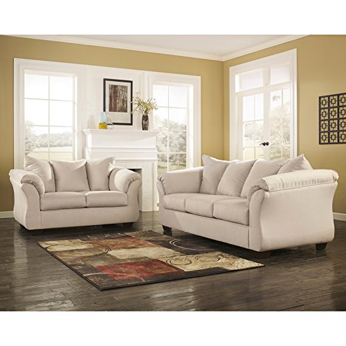 Ashley Furniture Signature Design - Darcy Love Seat - Contemporary Style Microfiber Couch - Stone