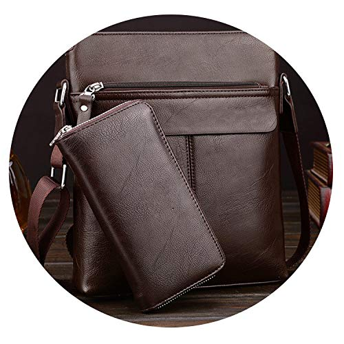 Portable Business Hand Work Office Male Messenger Bag Men Briefcase For Document Handbag Satchel Portfolio Handy Portafolio,Brown with Wallet