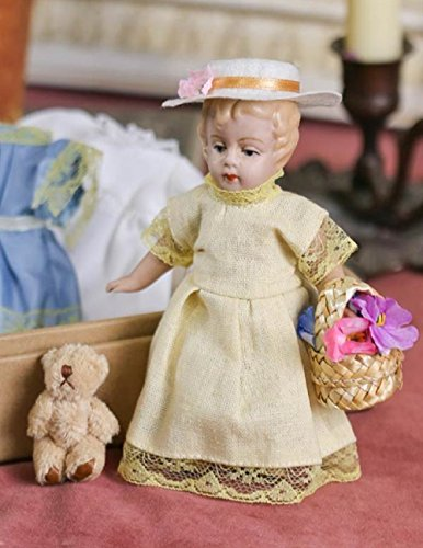 Victorian Trading Co Curlilocks Antique Replica Ceramic Doll with Bear & Outfits Antique Collectible Dolls