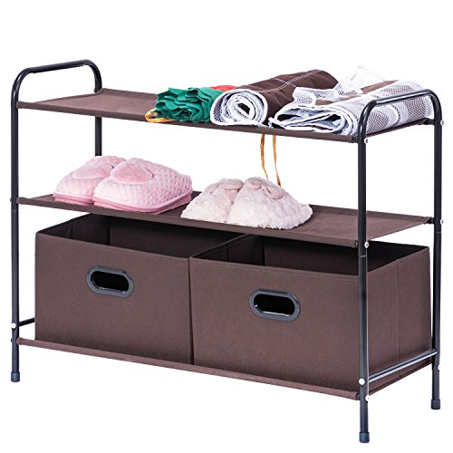 Closet Organizer, MaidMAX 3-Tier Clothes Drawer Shelf Closet Storage Rack Organizer Shelves with 2 Collapsible Bins, Brown - 3 Drawer Shelf