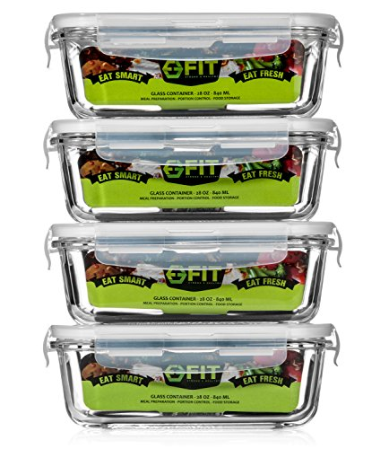 High Resistance Glass Meal Prep Containers (4 Containers + 4 Vented Snap Lids) by Fit Strong & Healthy | Portion Control | Food Storage | Cooking | BPA-Free | Leakproof - Meal Delivery Compartments 3 Tray
