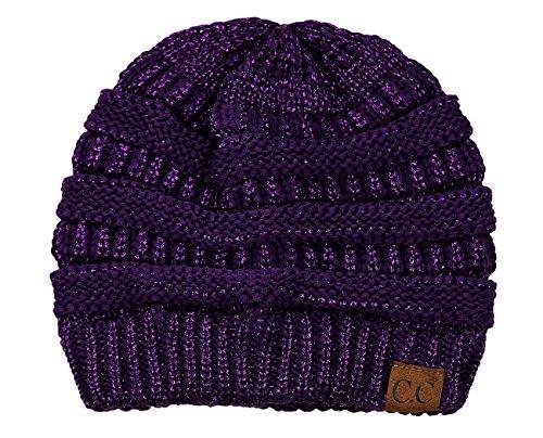 (C.C Trendy Warm Chunky Soft Stretch Cable Knit Beanie Skully, Purple)