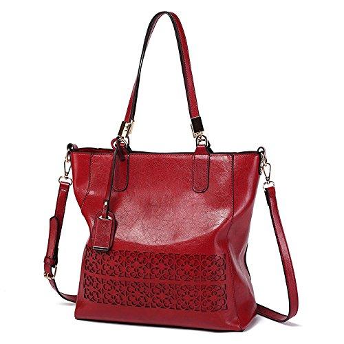 KLXEB Designer Handtaschen Occasionnels Rot Frauen Aushöhlen Handtaschen Umhängetasche Schultertasche qrEBqw1x5