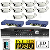 USG 1080P HD IP CCTV Kit: 1x 16 Channel NVR + 10x 1080P 2.8-12mm PoE IP Bullet Cameras + 2x 8 Port PoE Switch + 1x 4TB HDD *** High Definition CCTV Video Surveillance