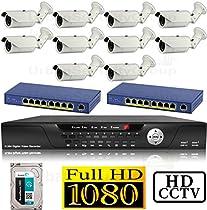 USG 1080P HD IP CCTV Kit: 1x 16 Channel NVR + 10x 1080P 2.8-12mm PoE IP Bullet Cameras + 2x 8 Port PoE Switch + 1x 4TB HDD *** High Definition CCTV Video Surveillance