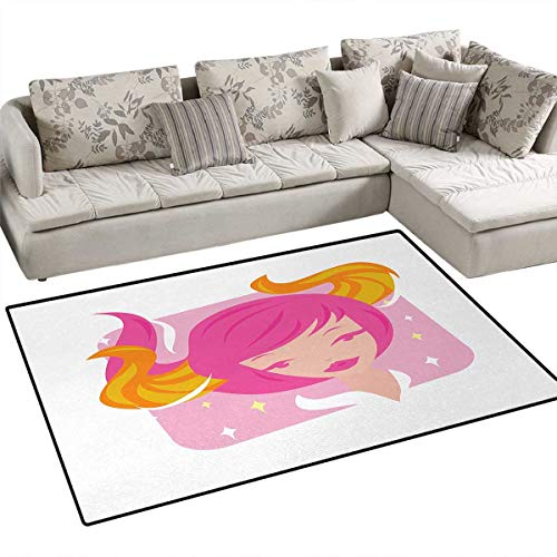 - Zodiac Taurus,Rug,Abstract Woman Illustration Pink Hair and Orange Horns Female Taurus Portrait,Area Carpet,Multicolor,36