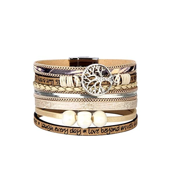 Jenia Tree of Life Leather Cuff Bracelet - Engraved Wrap Bangle with Pearl for Women, Teen Girl, Boy Gift