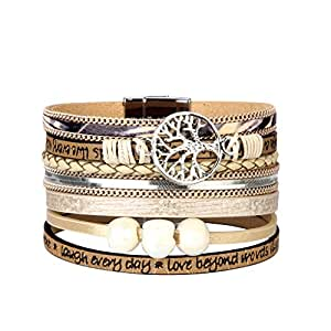 Jenia Tree of Life Womens Leather Wrap Bracelet Personality Engraved Braided Cuff Bangle with Pearl Handmade Boho Jewelry for Kids Men Teens Girls Birthday Gift - Beige