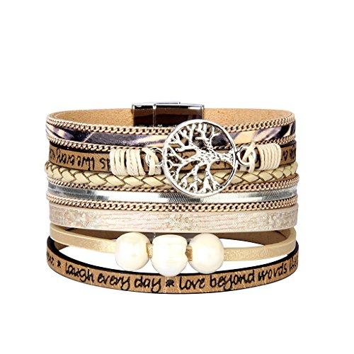 Jenia Tree of life Leather Cuff Bracelet Personality Engraved Braided Wrap Bangle with Pearl - Handmade Boho Jewelry for Women Kids Men Teens Girls Birthday Gift - Beige by Jenia (Image #7)