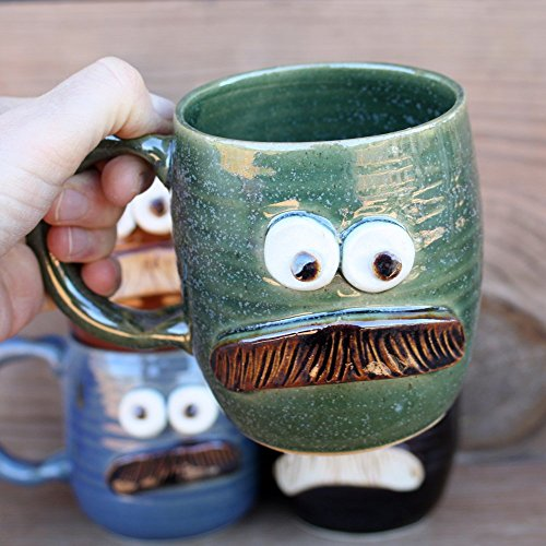 Mans Mustache Mug. Handmade Stoneware Pottery Ceramic Coffee Cup in Green Blue Black or Red.