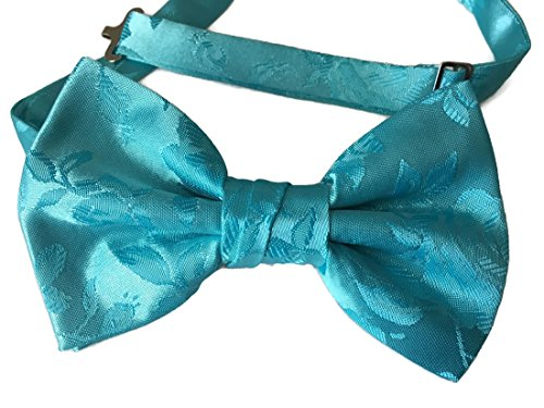 Men's Bow Tie Pre-tied Rose Satin Jacquard (Baby, Spa Blue) from Holiday Bow Ties
