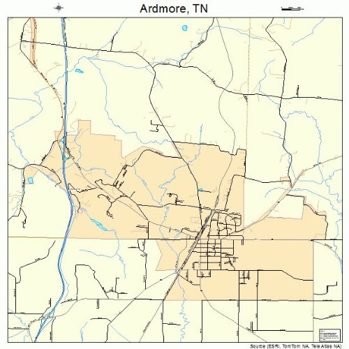 Ardmore Outdoor Wall - Large Street & Road Map of Ardmore, Tennessee TN - Printed poster size wall atlas of your home town